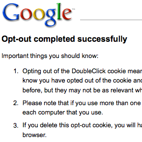 google opt-out cookie plugin